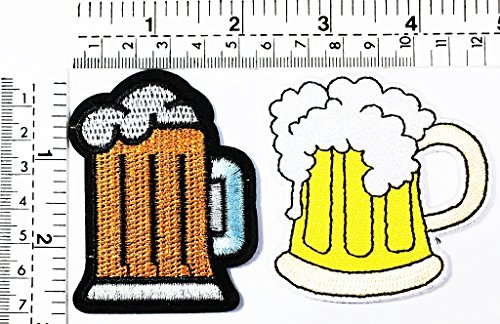 Set 2 Mug of Beer Glass Alcoholic Cold Brew Drink Kids Cartoon Patch Applique for Clothes Great as Happy Birthday Gift ()