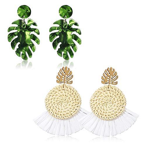 Acrylic Earrings for Women Drop Dangle Leaf Earrings Resin Minimalist Bohemian Statement Jewelry (2 pair Rattan Acrylic-Round) (E Earrings)