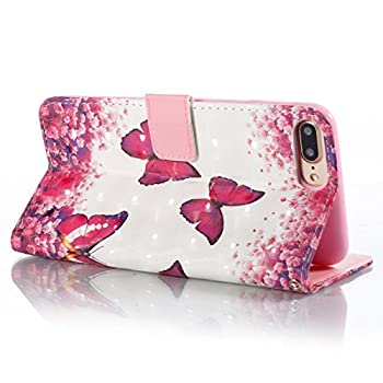 iPhone 7 Plus Case,iPhone 8 Plus Case,Magnetic Wallet Case Lightweight [Kickstand] Flip Folio Skin Cover Built In Credit Card Slot Protective Carrying Case with Strap for Apple iPhone 7 Plus