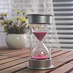 5 Minutes Hourglass,Siveit Modern Sand Timer with Pink Sand for Mantel Office Desk Coffee Table Book Shelf Curio Cabinet or End Table Christmas Birthday Valentine's Present(5Min Pink)