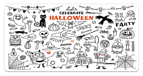 Lunarable Halloween License Plate, Lets Celebrate Halloween Quoted Skeleton Cat Owl Night Drawings Bat, High Gloss Aluminum Novelty Plate, 5.88 L X 11.88 W Inches, Black White Burnt Orange