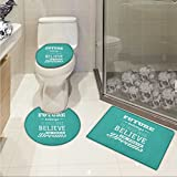 lacencn Motivational 3 Piece Toilet mat set Hipster Letters Saying Advice Believe in Your Dreams Have Faith in Yourself Printed Rug Set Teal White