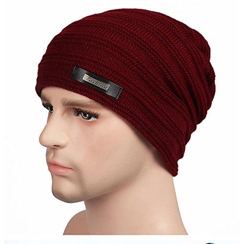 YANXH El nuevo El hombre que hace punto el casquillo más otoño grueso y el invierno al aire libre guardan el sombrero caliente del oído del cuidado , black wine red