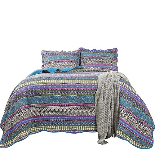 Chezmoi Collection Odette 3-Piece Boho Chic Blue Pink and Purple Pre-Washed 100% Cotton Bohemian Bedspread Quilt Set, King Size (King Quilt Cotton 100)