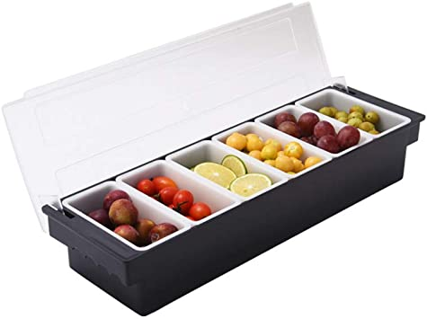1PCS 6 rejilla de refrigerios de frutas dispensador de bandeja de caja de plástico contenedor de ensalada congelada reutilizable plato de frutas vegetales con tapa para bar de trabajo de catering: Amazon.es: