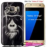 ONLY Fit [Galaxy S7 Edge], Galaxy S7 Edge Case, MerKuyom(TM) Package- [Cool Glasses Smoking Monkey] [Slim-fit] [Flexible Gel] Soft TPU Case Skin Rubber Cover For Samsung Galaxy S7 Edge, W/ Stylus
