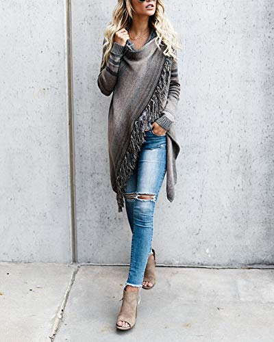 Elegante Lungo Lunga Cardigan Maglia Marrone Cappotto Con A Sweater Grigio Donna Maglione Frange Manica ShiFan q1txTFt
