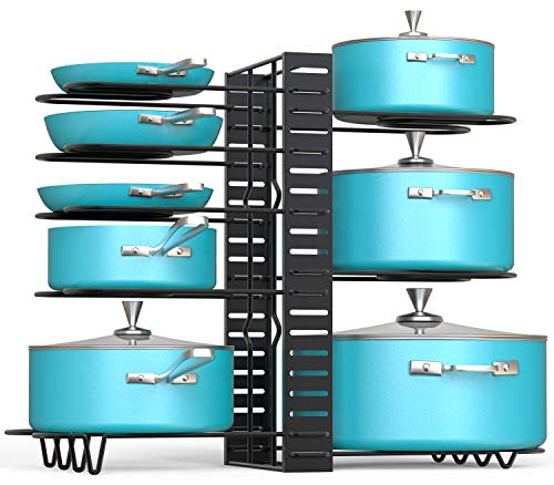 VDOMUS Pan Organizer Rack with 3 DIY Methods, Height Adjustable Kitchen Pan and pot Lid Holder (Black) -