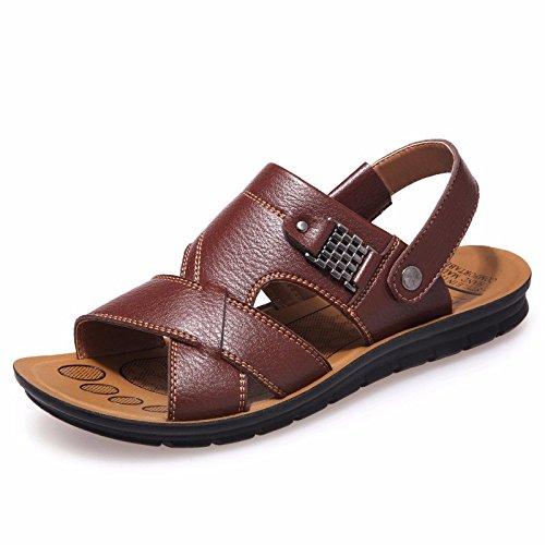 estate Nuovo prodotto Uomini sandali vera pelle Spiaggia scarpa Uomini traspirante Tempo libero vacchetta sandali sandali Uomini scarpa ,Marrone,US=9.5,UK=9,EU=43 1/3,CN=45