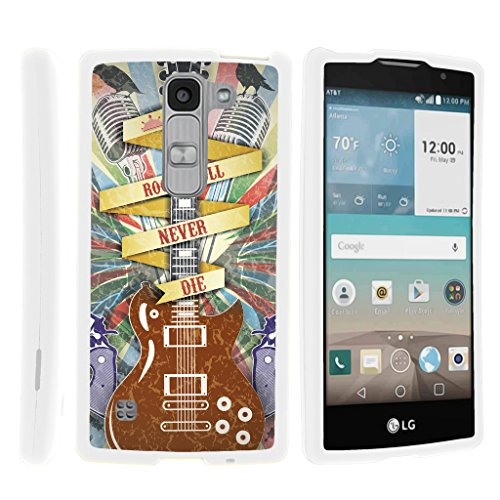 TurtleArmor | LG Escape 2 Case | LG Logos Case | LG Spirit Case LTE [Slim Duo] Slim Fitted Compact Hard Protector Snap On Case Rubberized on White Music Design - Rock N Roll Never Die (Fitted Logo Roll)