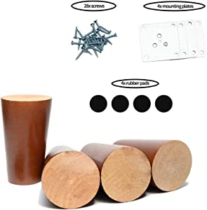 Maricome 4 Inch Wood Replacement Feet Sofa Couch Chair Ottoman Cabinet Solid Furniture Legs Height Raiser Set of 4