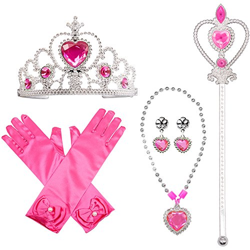 Princess Dress Up Costume Accessories 4 Pieces Gift Set For Princess cosplay Gloves Tiara Wand and - Pink Set Princess Dress Up