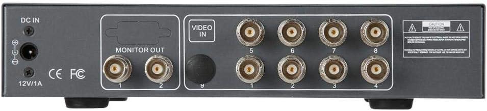 Tosuny 8CH Video Splitter Video Splitter mit automatischer NTSC//PAL-Erkennungsfunktion CCTV-Prozessor Quad mit VGA-Ausgang NTSC//PAL