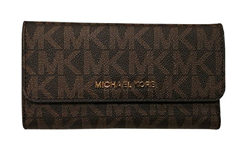 Michael Kors Jet Set Travel Large Trifold Leather Wallet Brown/Acorn by Michael Kors