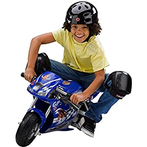 24 Volt Mini Electric Single Speed Racing Motorcycle Pocket Rocket, Blue With Ebook