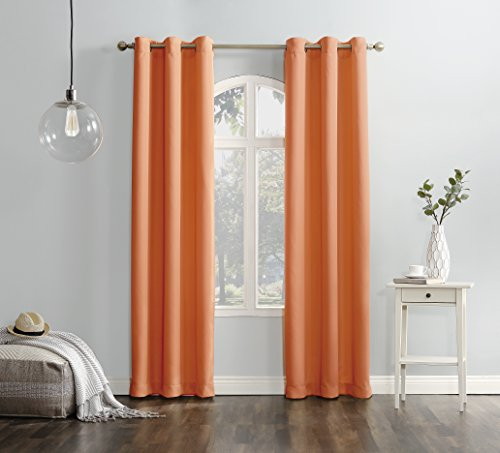 """No. 918 Montego Casual Textured Grommet Curtain Panel, 48"""" x 84"""", Cantaloupe Orange - Casual textured fabric Gently filters light while enhancing privacy Grommet top design allows for easy hanging on a standard curtain rod up to 1.5"""" in diameter - living-room-soft-furnishings, living-room, draperies-curtains-shades - 51GmPcXImsL -"""
