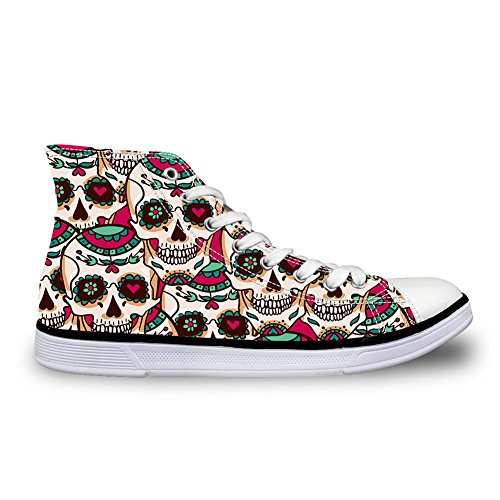 HUGS IDEA Vintage Womens Sugar Skull Canvas Shoes High Top Lace-up Trainers Sneakers US9