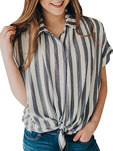 Women's Summer Striped Button Up Tie Front Shirt Casual Loose Short Sleeve Tops