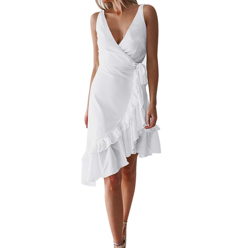 SMILEQ® Frauen ärmelloses V-Ausschnitt Rüschen Wickelkleid Asymmetrische Sommer Sommerkleid Urlaub