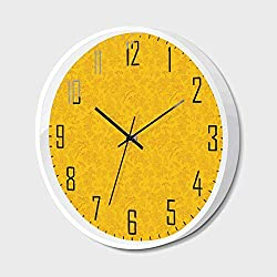 Silent Wall Clock Non Ticking Metal Frame HD Glass Cover,Floral,Autumn Colored Bay Leaf Pattern with Blueberry Figures Fall Season Artful Illustration,for Living Room, Bedroom,Office,14inch