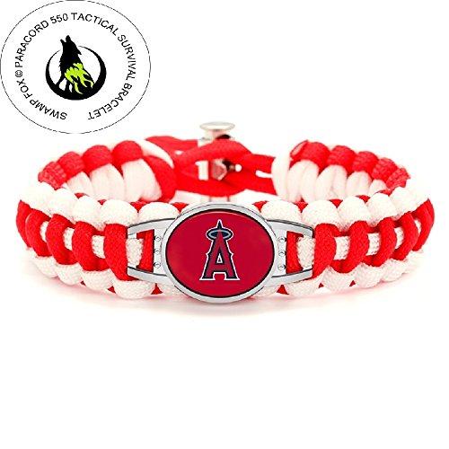 (Premium Style Los Angeles Angels Baseball Team Adjustable Paracord Survival Bracelet)
