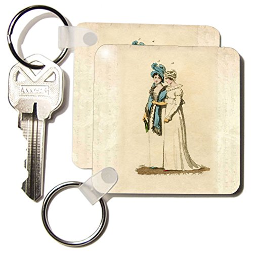 kc_174327_1 Florene - Vintage Fashion - image of 1800s regency ladies fashion - Key Chains - set of 2 Key Chains