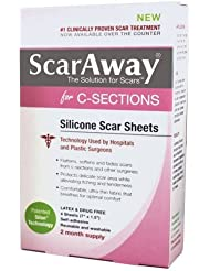"""ScarAway C-Sections Silicone Scar Sheets - 4 count (7"""" x 1.5"""") , (3 pack)"""