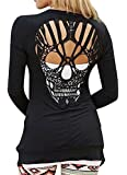 KOINECO Women's Open Front Back Cut Out Skull Tops