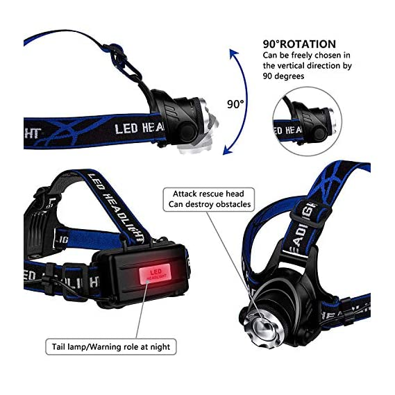 Smitex Best Super Bright Headlamp Light   Rechargeable Head Torch   Hands Free Head Flashlight LED Lmap Water Resistant