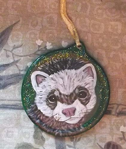 Sable Ferret Christmas Ornament Custom Hand Painted