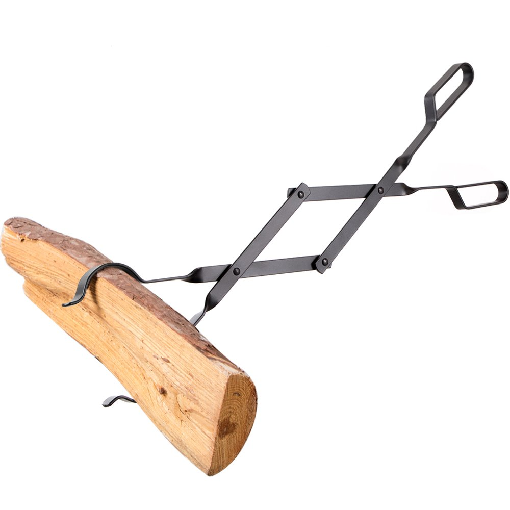 """AMAGABELI GARDEN & HOME Fireplace Log Tongs Heavy Duty Indoor Firewood Wrought Iron Claw Grabber for Wood Stove Outdoor Long Tweezers Pit Campfire Fire Place Tools Accessories, 26"""""""