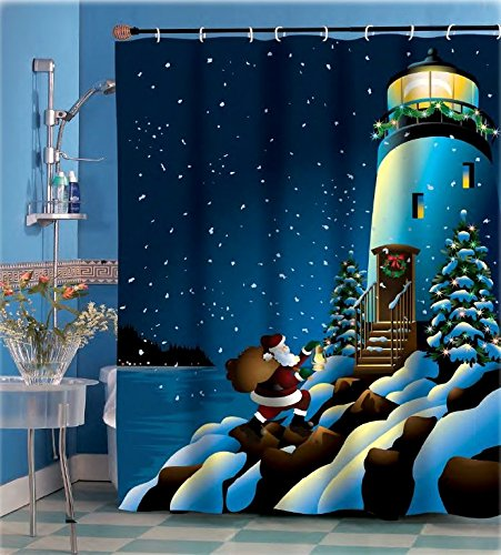 Holiday Lighthouse Shower Curtain