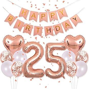 Amazon Com Happy 25th Birthday Banner Balloons Set For 25