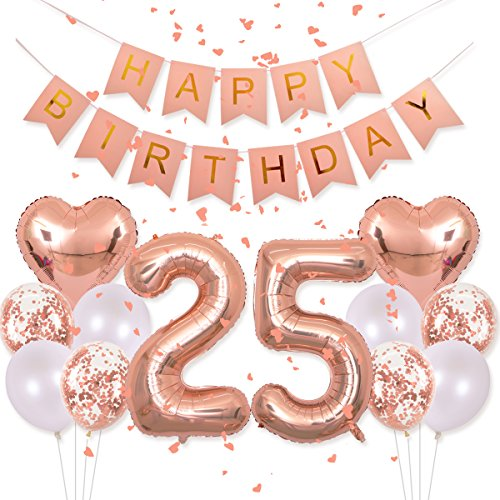 Birthday Decorations Happy Birthday Banner 40inch Rose Gold Number 25 Balloons Rose Gold Confetti Balloons 1