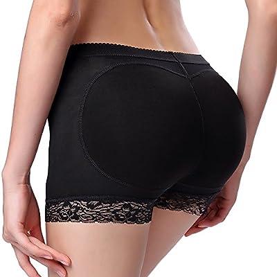 Jenbou Women's Butt Lifter Shapewear Enhancer Padded Control Panties Boyshort Seamless Briefs Fake Buttock Hip Lace Underwear