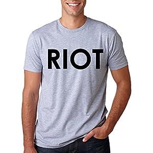 Riot T shirt Funny Shirts for Men Political Novelty Tees Humor,Medium,Grey