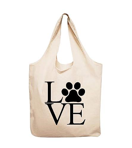Dog paw print several fabric bones tote bag
