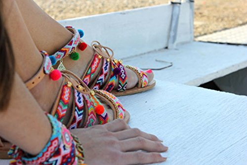 Amkun - Sandalias de vestir para mujer marrón