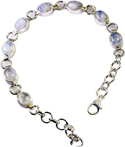 55Carat Genuine Rainbow Moonstone Bracelet Sterling Silver for Women /& Girls June Birthstone Length 6.5-8 Inch