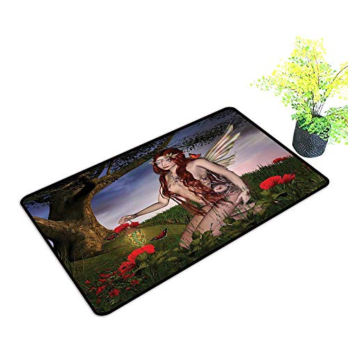 (Zmstroy Door mat Fantasy Redhead Fairy with Wings Holding a Butterfly Catcher Lantern Surrounded by Poppies W20 xL31 Super Absorbent mud Multicolor)