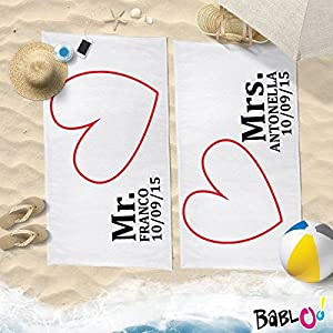 Babloo Coppia di Teli Mare Love You And Me Personalizzati con Nomi E Data Mrs And Mr -70x100- 12 spesavip