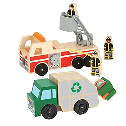 Melissa and Doug Whittle World Wooden Playset Bundle - Fire Truck Playset with Garbage Truck Set - Ages 3 and - Doug Fire Truck