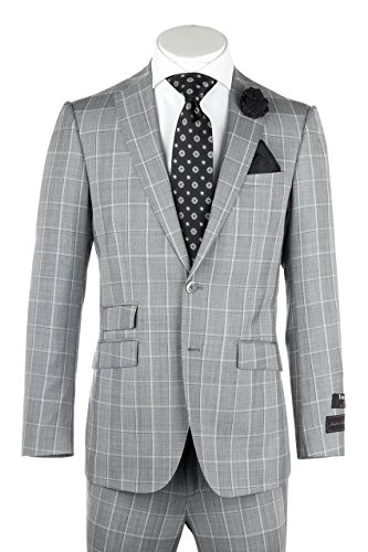 Tiglio Molina Light Gray with White Windowpane, Slim Fit, Pure Wool Suit by Luxe 864127/1
