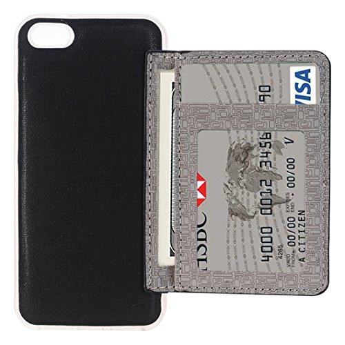 Protege tu iPhone, Para el iPhone 7 ranuras flexibles de la tarjeta de cuero de la caja con el sostenedor y las ranuras para tarjeta y la carpeta, pequeña cantidad recomendada antes del lanzamiento de Negro