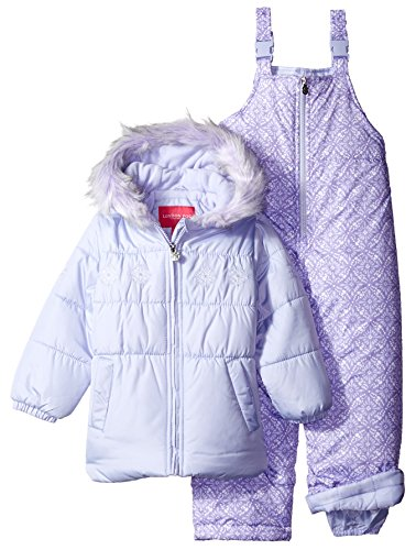 London Fog Little Girls' Snowflake Embroidery 2 Piece Heavyweight Snowsuit, Lavender, 4 (Joker Suit For Sale)