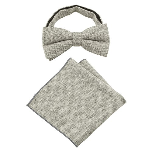 From piece Men's 10 Luxury Colours Choose Square Sets Pocket 2 Ash Gift Wool Grey Over Tie amp; Beautiful Tins Handkerchief in Bow Herringbone rrUw5aq