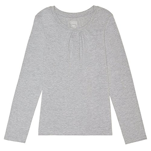 French Toast Girls' Toddler Long Sleeve Crewneck Tee, Heather Gray, 2T