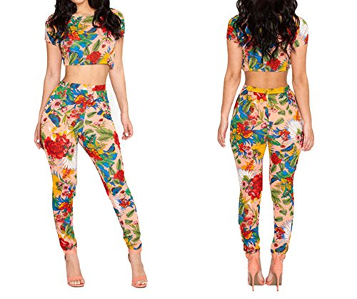 Alionz Women Short Sleeve Sexy Floral Tops & Pants Clubwear Party Set Two S Multicolor