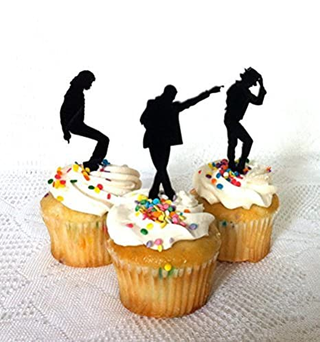 Set Of 12 Michael Jackson Cupcake Toppers Fans