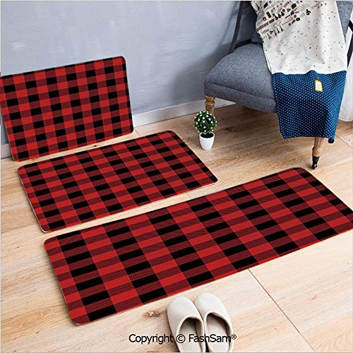 FashSam 3 Piece Flannel Bath Carpet Non Slip Lumberjack Clothing Inspired Square Pattern Checkered Grid Style Quilt Design Front Door Mats Rugs for Home(W15.7xL23.6 by W19.6xL31.5 by W31.4xL47.2) ()